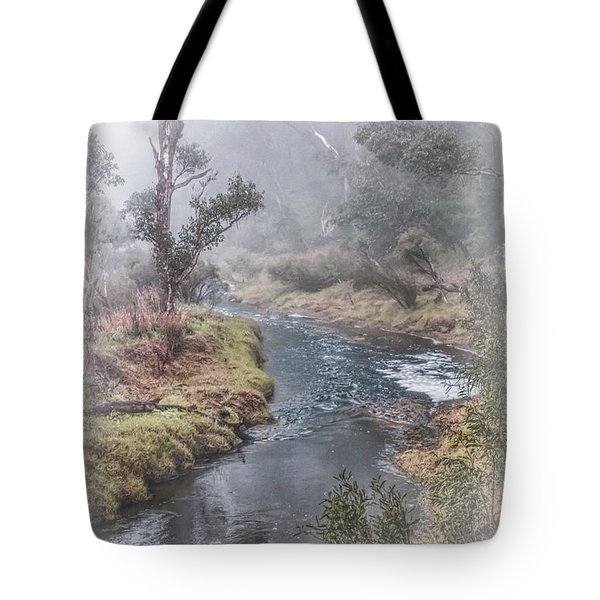 Tote Bag featuring the photograph A Misty Morning In Bridgetown by Elaine Teague