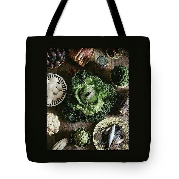 A Mixed Variety Of Food And Ceramic Imitations Tote Bag by Fotiades