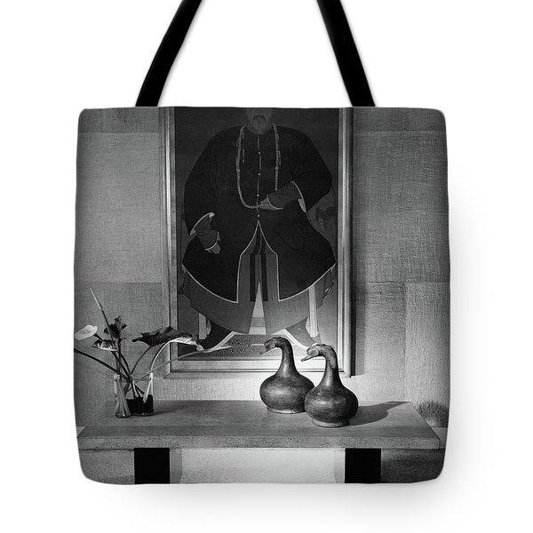 A Modern Table With An Oriental Painting Tote Bag