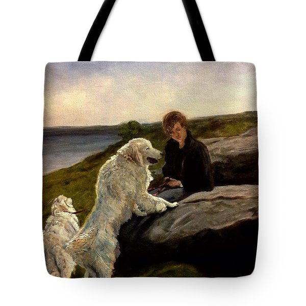 Tote Bag featuring the painting A Moment Of Repose With The Magnificent Dogs by J Reynolds Dail