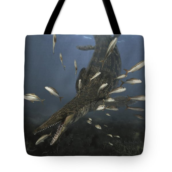 A Mosasaurus Feeds On A Small School Tote Bag