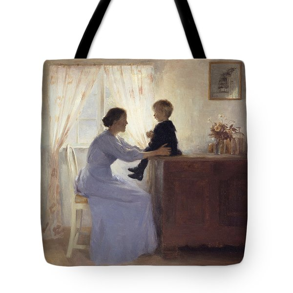 A Mother And Child In An Interior Tote Bag by Peter Vilhelm Ilsted