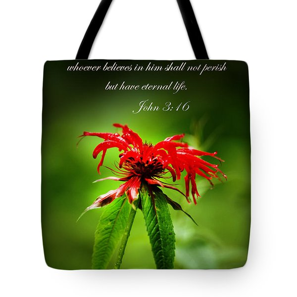 A Mountain Flower  John 3 16 Tote Bag by Randall Branham