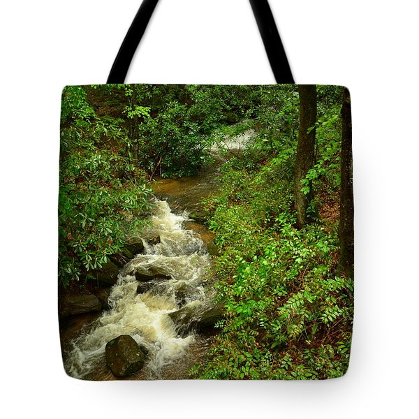 Tote Bag featuring the photograph A Mountain Stream After The Spring Rains by Bob Sample