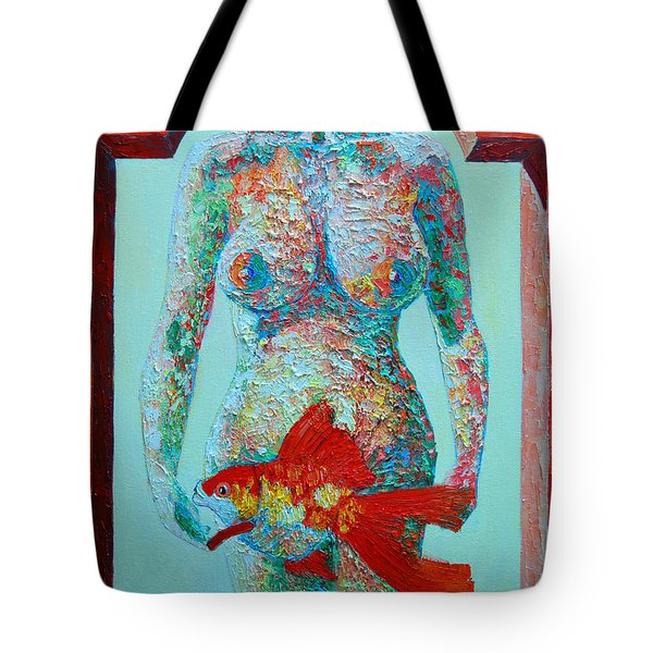 A Muse Came To My Window And Told Me To Paint A Fish Tote Bag by Ana Maria Edulescu
