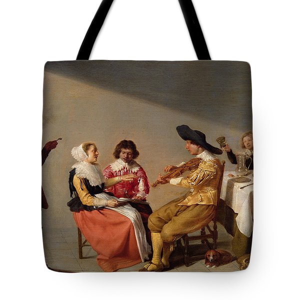 A Musical Party, 1631 Oil On Panel Tote Bag