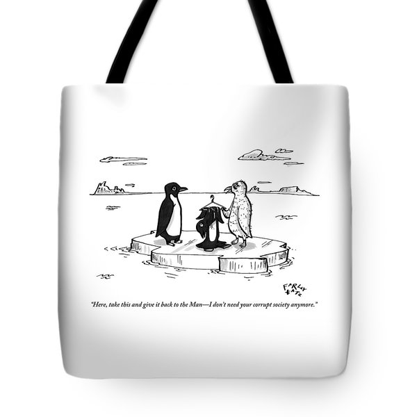 A Naked Penguin Is Handing His Black And White Tote Bag