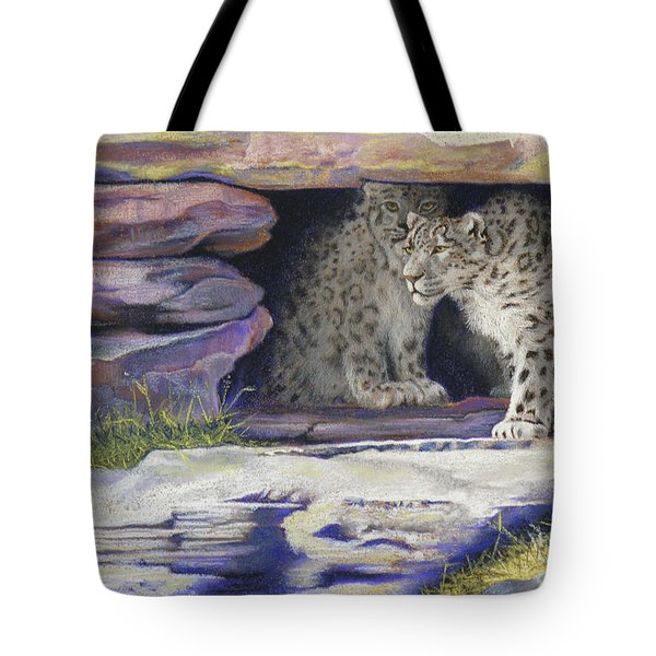 A New Day - Snow Leopards Tote Bag by Tracy L Teeter