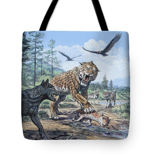 A Pack Of Canis Dirus Wolves Approach Tote Bag
