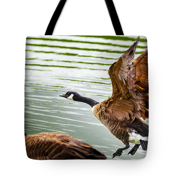 Tote Bag featuring the photograph A Pair Of Canada Geese Landing On Rockland Lake by Jerry Cowart