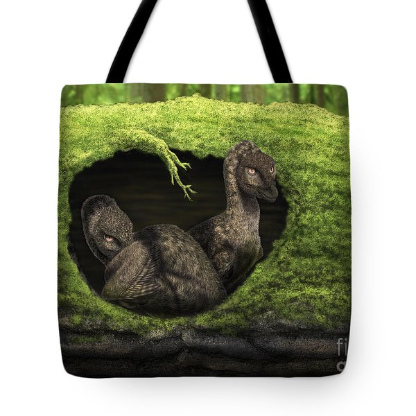 A Pair Of Juvenile Troodons Tote Bag by Alvaro Rozalen