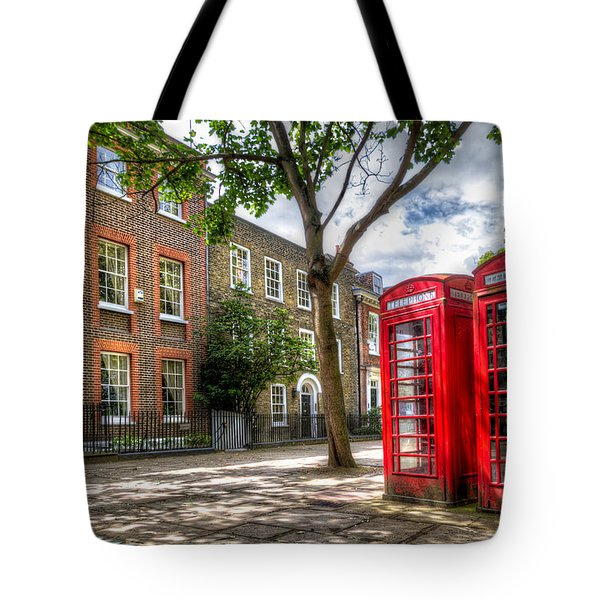 A Pair Of Red Phone Booths Tote Bag by Tim Stanley