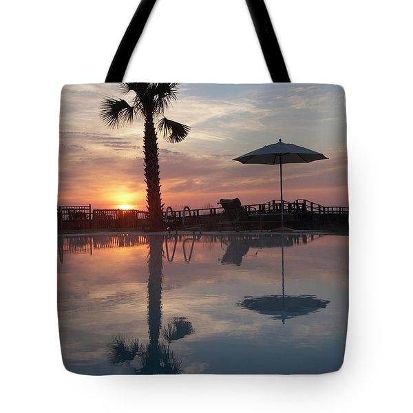 A Palm And Umbrella Reflect Tote Bag