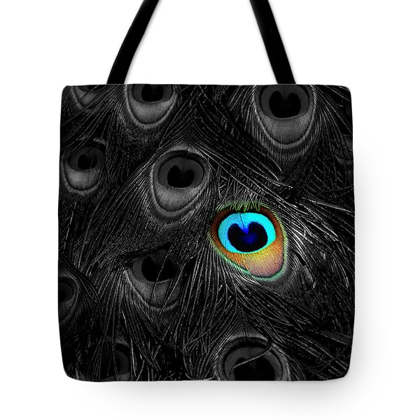 A Peacock Feather Tote Bag by Mike Nellums