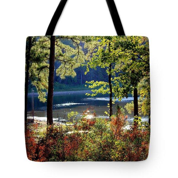 A Peek At Lake O The Pines Tote Bag by Kathy  White