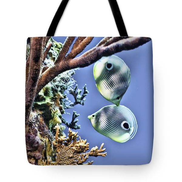 Two Butterfly Fish And Coral Reef Tote Bag by Paula Porterfield-Izzo