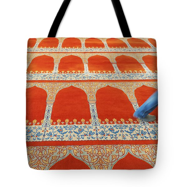 A Person Walking Over The Colourful Tote Bag by Keith Levit