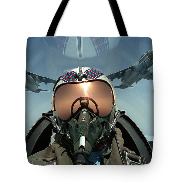 A Pilot Takes A Self Portrait Tote Bag by Stocktrek Images