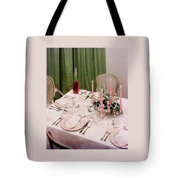 A Pink Table Setting Tote Bag