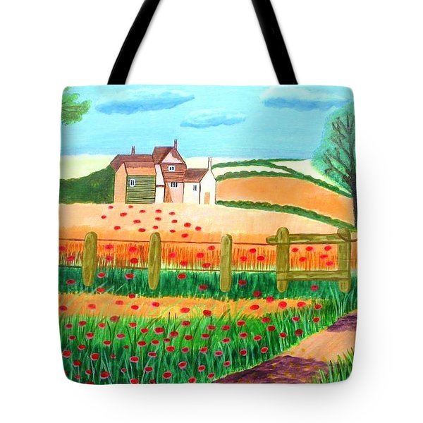 Tote Bag featuring the painting A Poppy Field by Magdalena Frohnsdorff