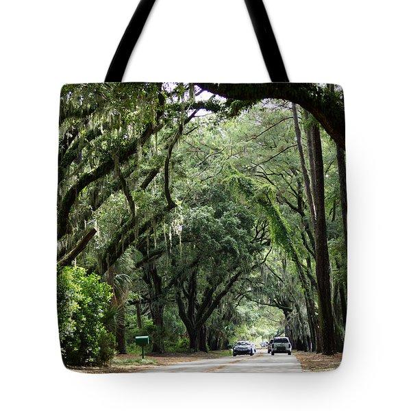 A Pretty Tree Covered Road Somewhere On Hilton Head Island Tote Bag