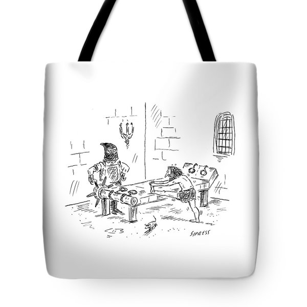 A Prisoner Is Seen Stretching On A Torture Rack Tote Bag