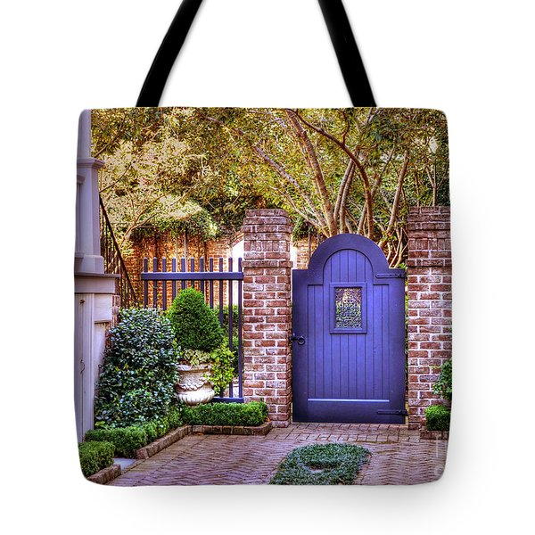 Tote Bag featuring the photograph A Private Garden In Charleston by Kathy Baccari