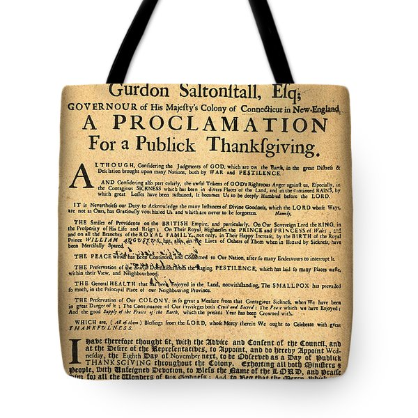 A Proclamation Of Thanksgiving Tote Bag by Bill Cannon