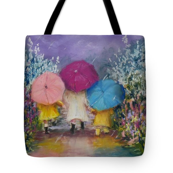 A Rainy Day Stroll With Mom Tote Bag by Jack Skinner