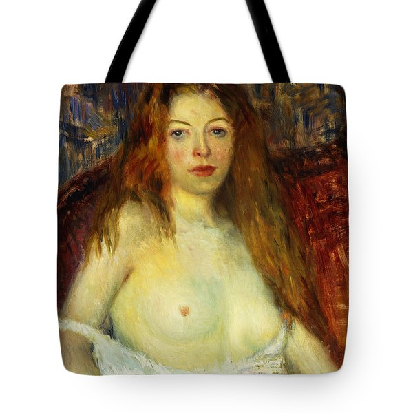 A Red-haired Model Tote Bag by William James Glackens