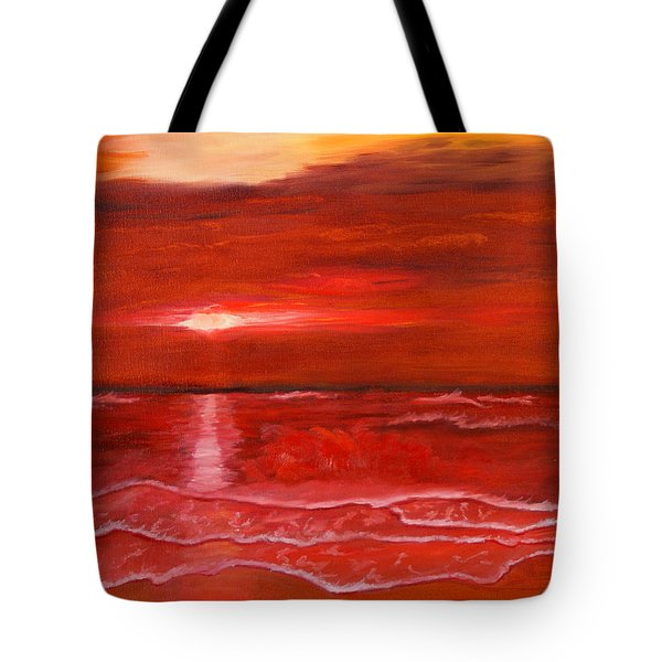 A Red Sunset Tote Bag