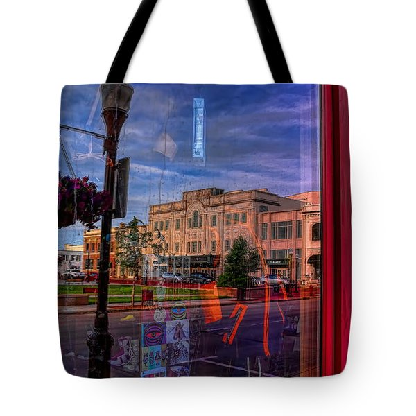 Tote Bag featuring the photograph A Reflection Of Wausau's Grand Theater by Dale Kauzlaric