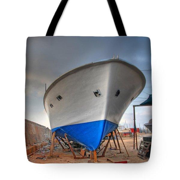 a resting boat in Jaffa port Tote Bag