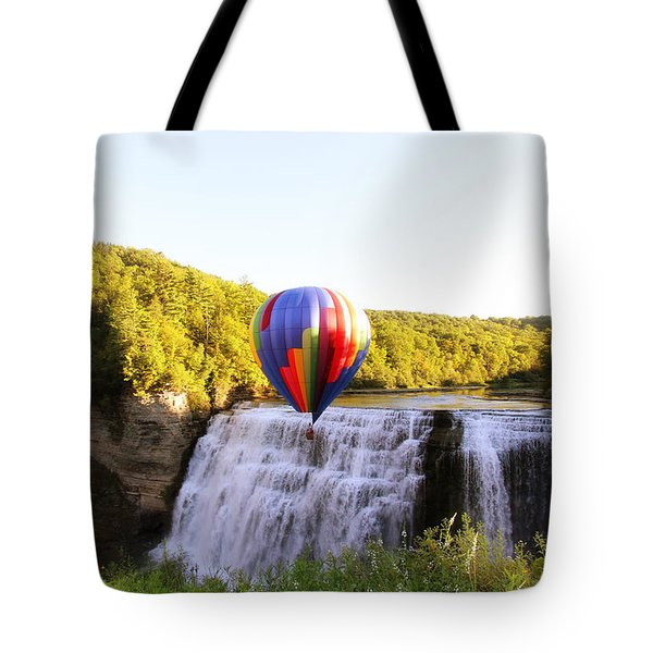 Tote Bag featuring the photograph A Ride Over The Falls by Trina  Ansel