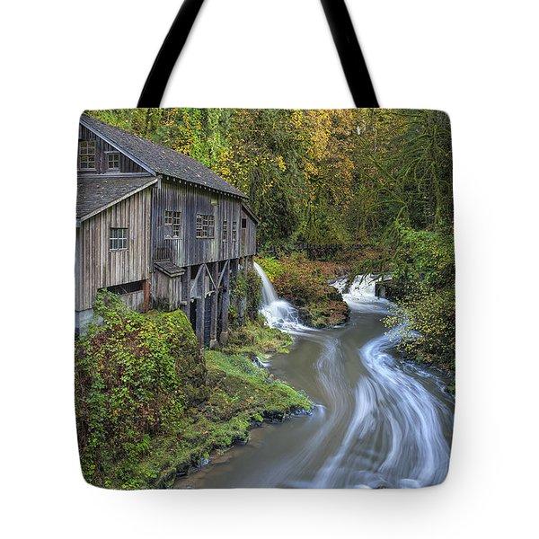 A River Flows Through It Tote Bag by David Gn