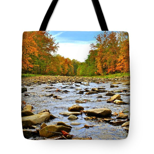 A River Runs Through It Tote Bag by Frozen in Time Fine Art Photography