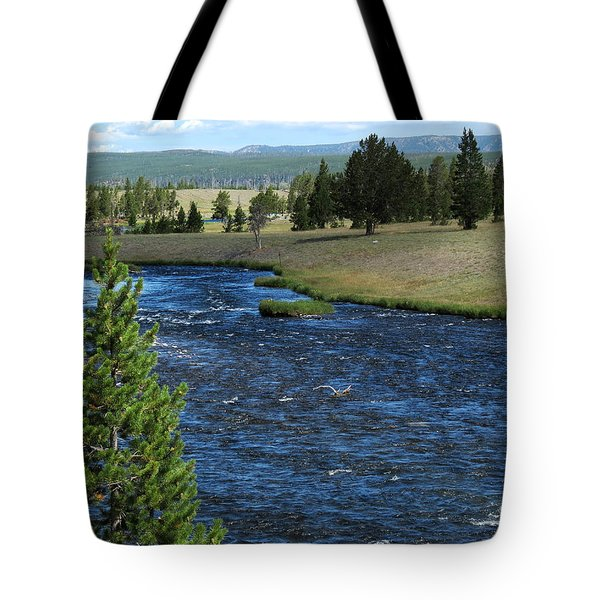 Tote Bag featuring the photograph A River Runs Through Yellowstone by Laurel Powell