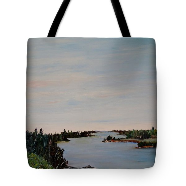 Tote Bag featuring the painting A River Shoreline by Marilyn  McNish