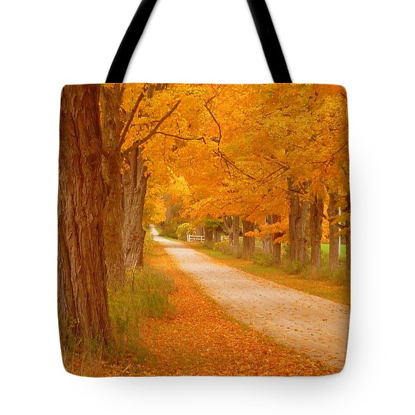 A Romantic Country Walk In The Fall Tote Bag by Lingfai Leung