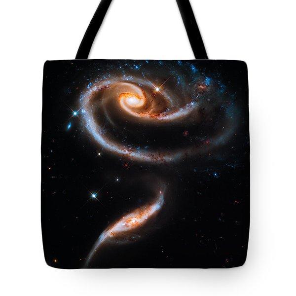 A Rose Made Of Galaxies Tote Bag