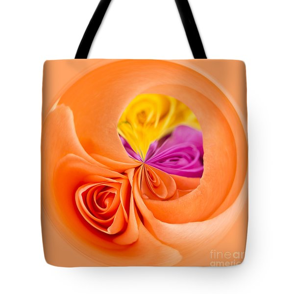 A Round Of Roses Tote Bag by Anne Gilbert