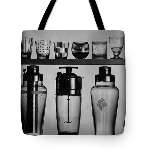 A Row Of Glasses On A Shelf Tote Bag