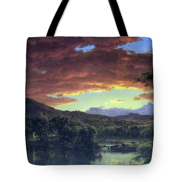 A Rural Home By Frederick Edwin Church Tote Bag