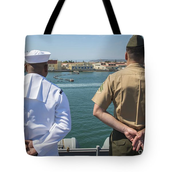 A Sailor And Marine Man The Rails Tote Bag by Stocktrek Images
