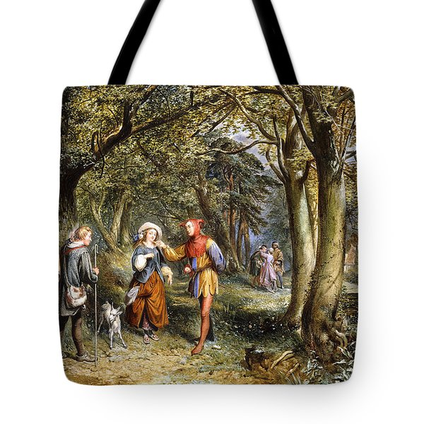 A Scene From As You Like It Rosalind Celia And Jacques In The Forest Of Arden Tote Bag