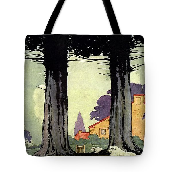 A Sheep And Lambs Under Evergreen Trees Tote Bag