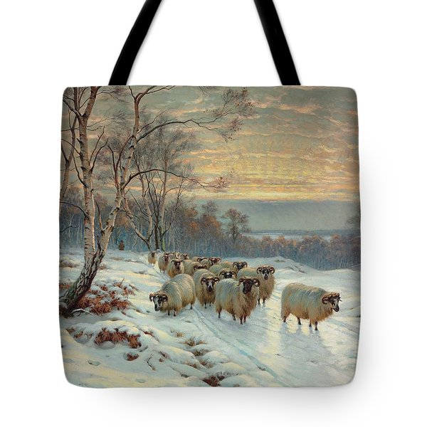 A Shepherd With His Flock In A Winter Landscape Tote Bag by Wright Baker