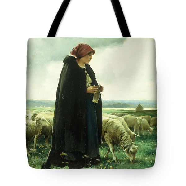 A Shepherdess With Her Flock Tote Bag by Julien Dupre