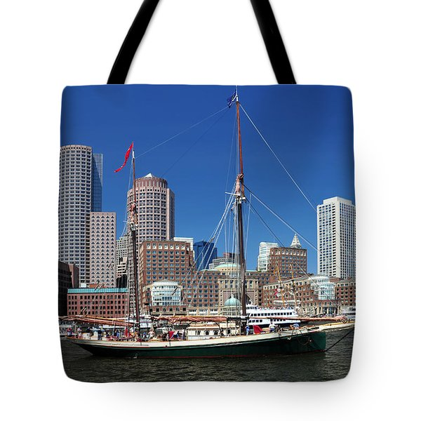 A Ship In Boston Harbor Tote Bag