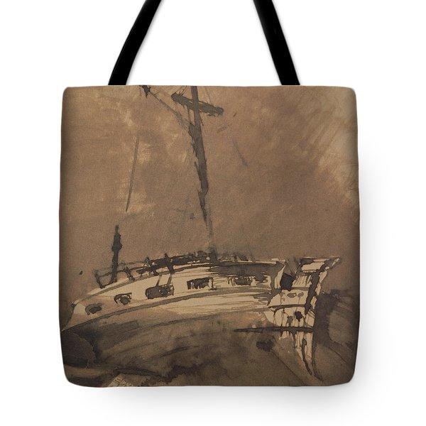 A Ship In Choppy Seas Tote Bag by Victor Hugo